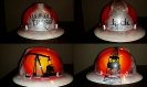 Custom painted white oilfield trash hard hat