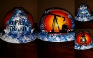 Blue and white oilfield trash hard hat