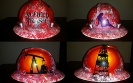 red white and black oilfield trash hard hat