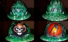green oilfield trash with cowboy skull hard hat design