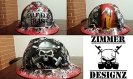 oilfield trash hard hat in red with skull and pumpjack